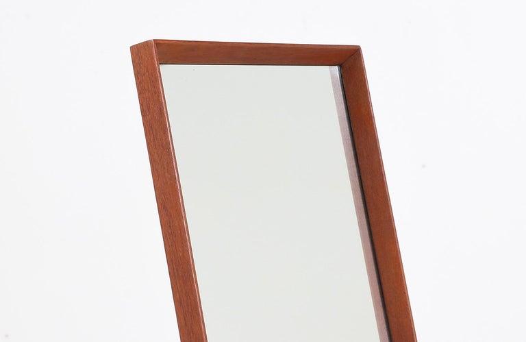 Mid-20th Century Danish Modern Teak Cheval Dressing Mirror For Sale
