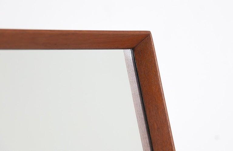 Brass Danish Modern Teak Cheval Dressing Mirror For Sale