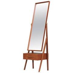 Danish Modern Teak Cheval Dressing Mirror