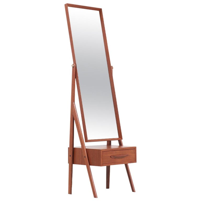 Danish Modern Teak Cheval Dressing Mirror For Sale