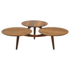 Danish Modern Teak Coffee Table, Three Round Surfaces, Style of Greta Grossman