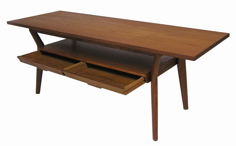 Danish Modern Teak Coffee Table with Lower Two-Drawer ...