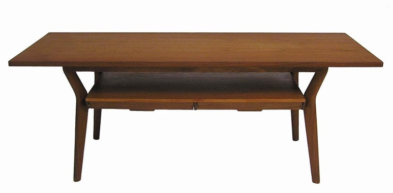 Danish Modern Teak Coffee Table With Lower Two Drawer