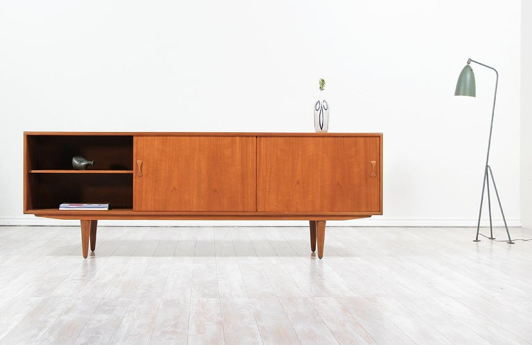 Danish Modern Teak Credenza by Clausen & Søn In Excellent Condition For Sale In Los Angeles, CA