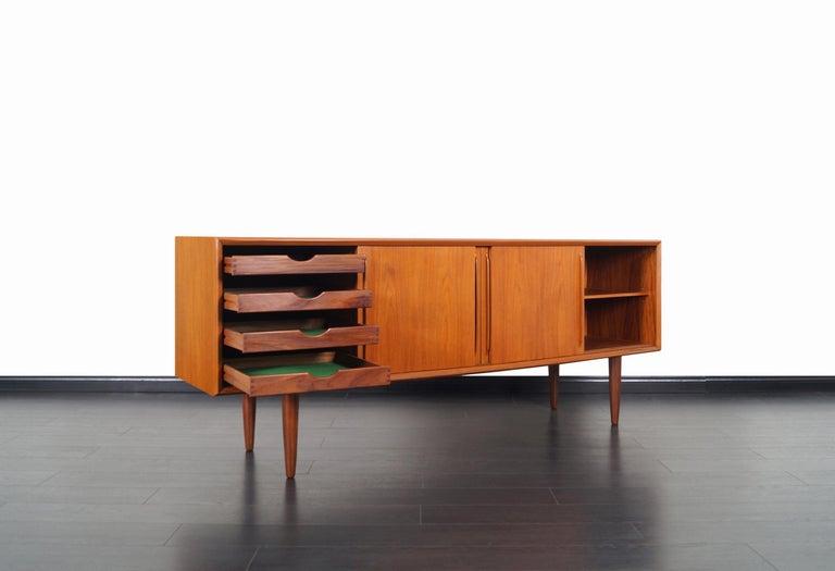 Danish Modern Teak Credenza by Svend A. Larsen In Excellent Condition In Burbank, CA