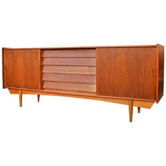 Danish Modern Teak Credenza with Louver Drawers and Oak Atomic Era Style Base
