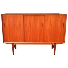 Danish Modern Teak Credenza with Sexy Mirrored Bar Tall Legs & Compact Size