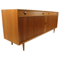 Danish Modern Teak Credenza with Tambour Roll Front by Povl Dinesen