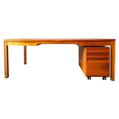 Danish Modern Teak Desk and File Cabinet by Gorm Lindum