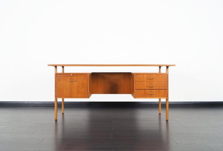 Brass Danish Modern Teak Desk by Torben Standgaard For Sale