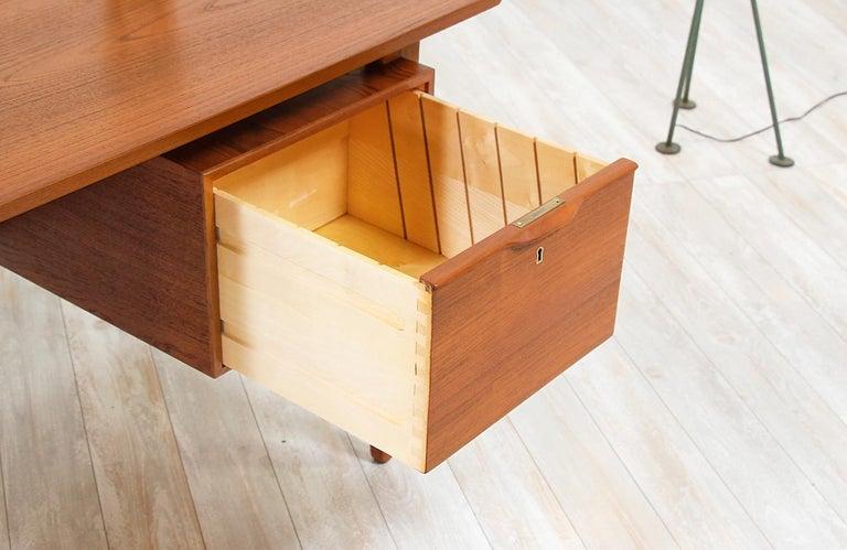 Danish Modern Teak Desk with Bookshelf For Sale 6