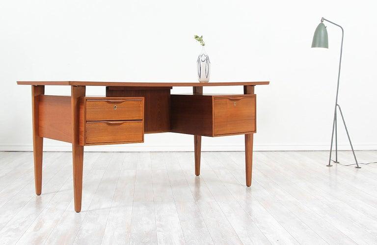 Mid-Century Modern Danish Modern Teak Desk with Bookshelf For Sale