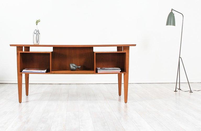 Mid-20th Century Danish Modern Teak Desk with Bookshelf For Sale