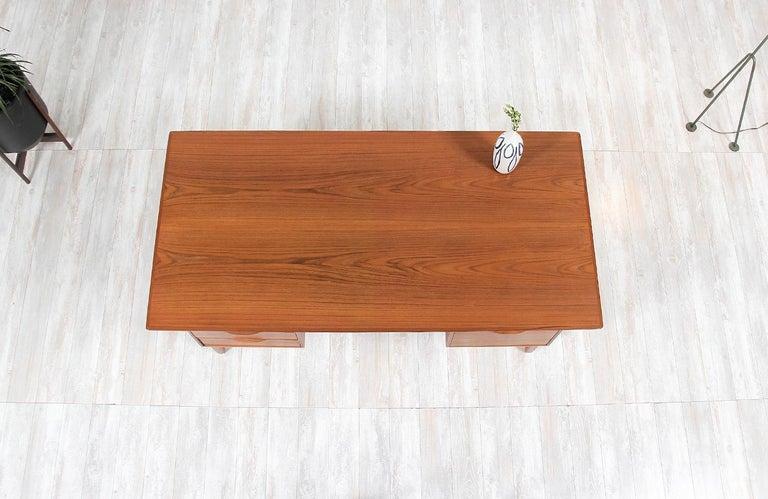 Wood Danish Modern Teak Desk with Bookshelf For Sale