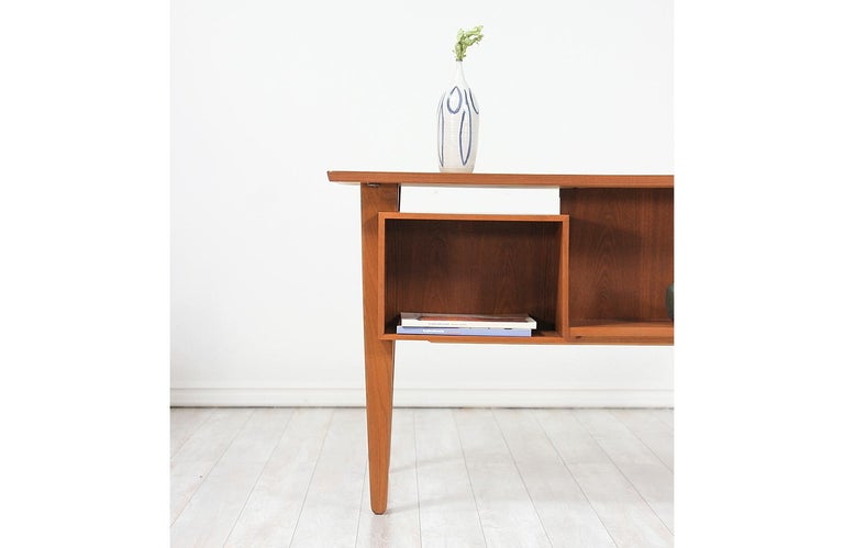 Danish Modern Teak Desk with Bookshelf For Sale 1
