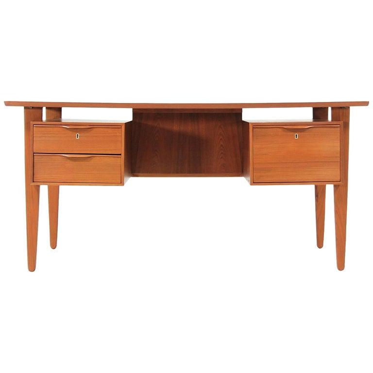 Danish Modern Teak Desk with Bookshelf For Sale