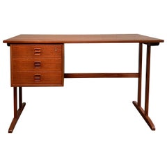 Danish Modern Teak Desk with Finished Bookshelf Back