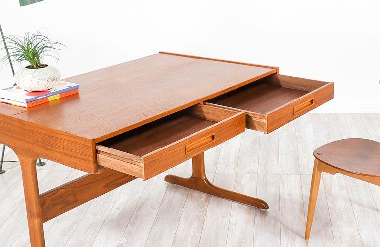 Danish Modern Teak Desk with Pop Up Tray For Sale 8