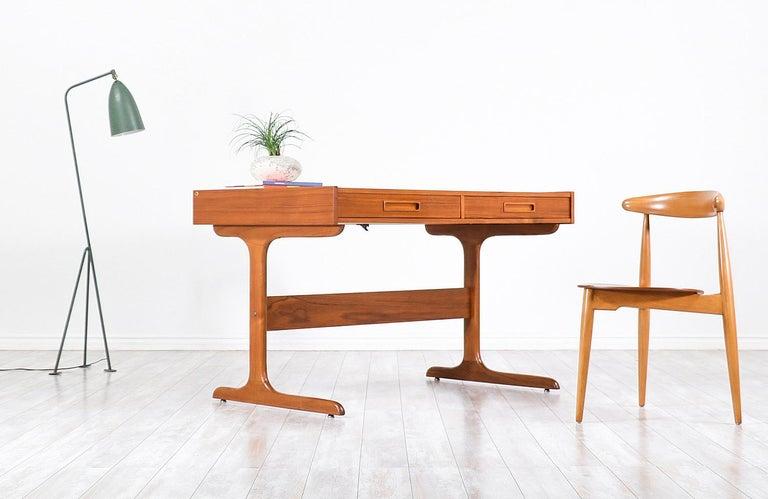 Mid-Century Modern Danish Modern Teak Desk with Pop Up Tray For Sale