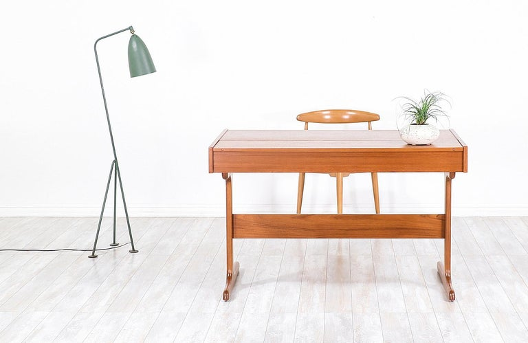 Mid-20th Century Danish Modern Teak Desk with Pop Up Tray For Sale