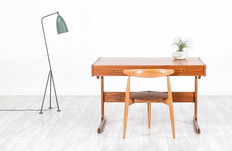 Wood Danish Modern Teak Desk with Pop Up Tray For Sale