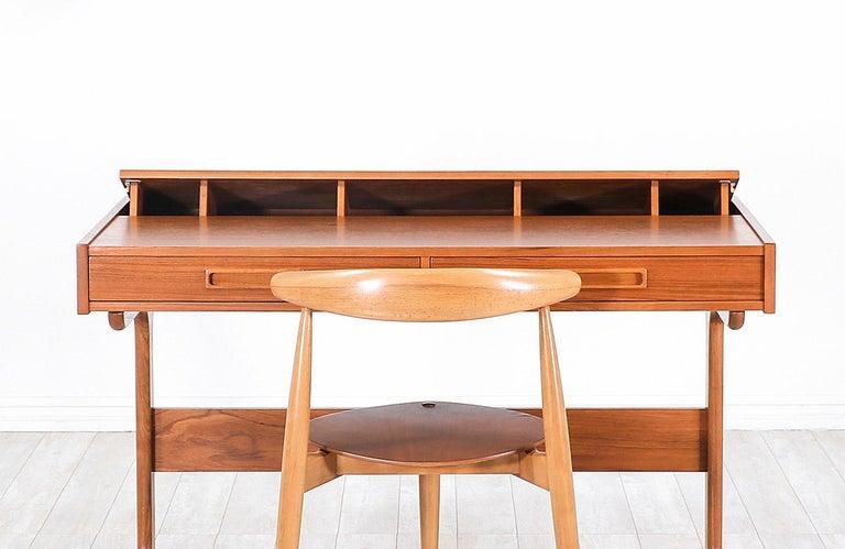Danish Modern Teak Desk with Pop Up Tray For Sale 2