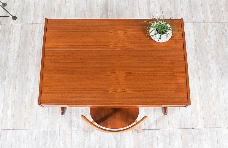 Danish Modern Teak Desk with Pop Up Tray For Sale 3