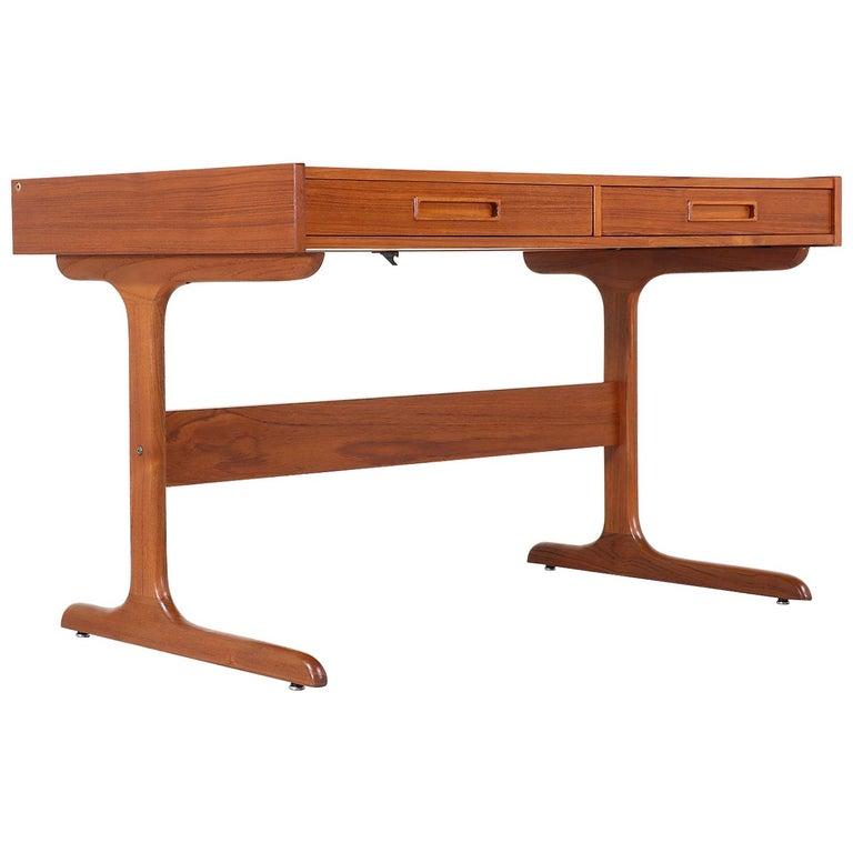 Danish Modern Teak Desk with Pop Up Tray For Sale