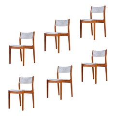 Danish Modern Teak Dining Chairs in White Gray and Pink Fabric