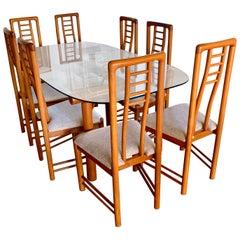 Danish Modern Teak Dining Set Glass Table & Matching Set of 8 Ladderback Chairs