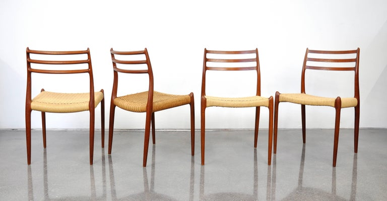 Mid-20th Century Danish Modern Teak Dining Set with Four Moller Model #78 Chairs