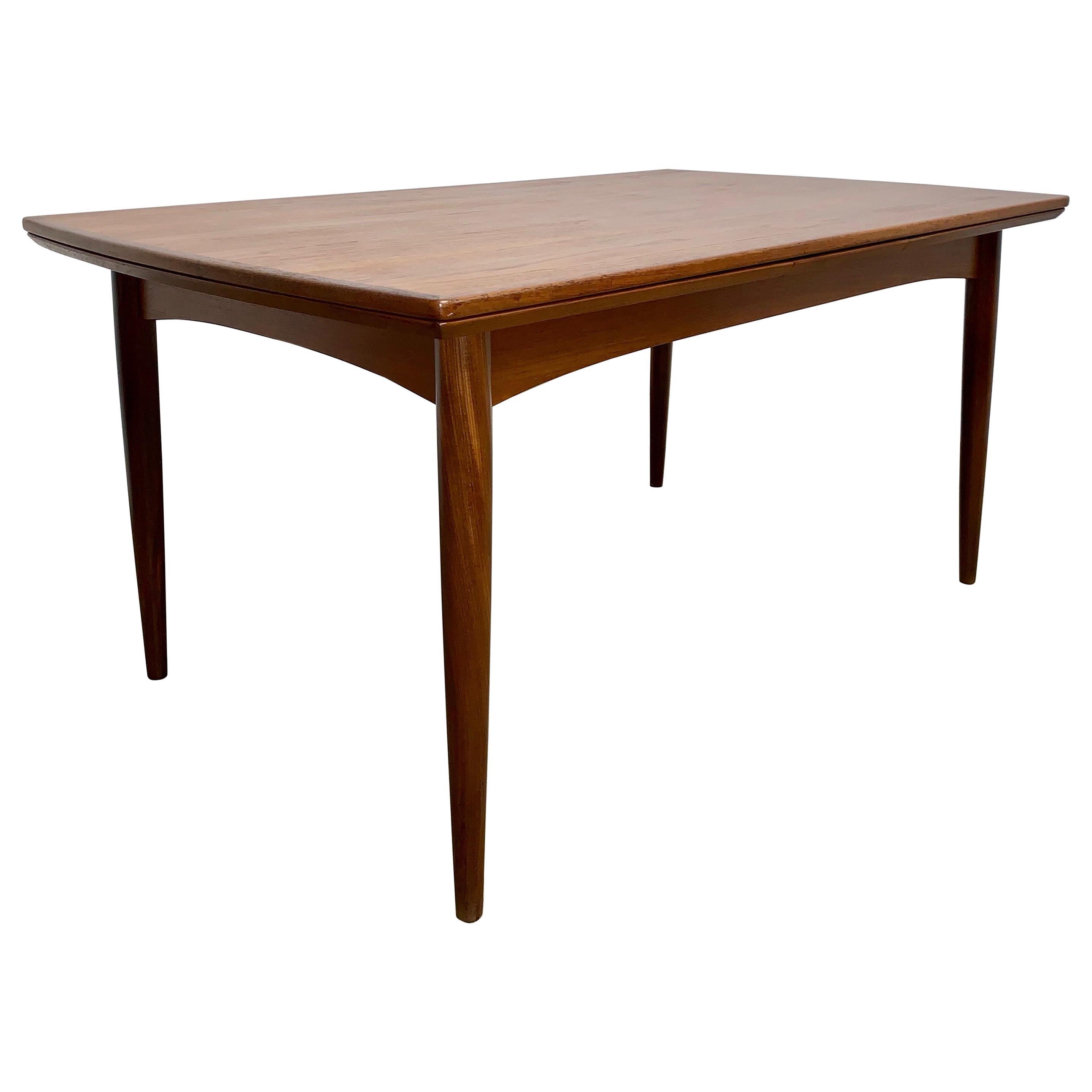 Danish Modern Teak Draw-Leaf Table
