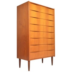 Danish Modern Teak Eight-Drawer Highboy Dresser