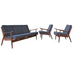 Danish Modern Teak Frame Boomerang Sofa & Pair of Lounge Chairs in New Kravdrat