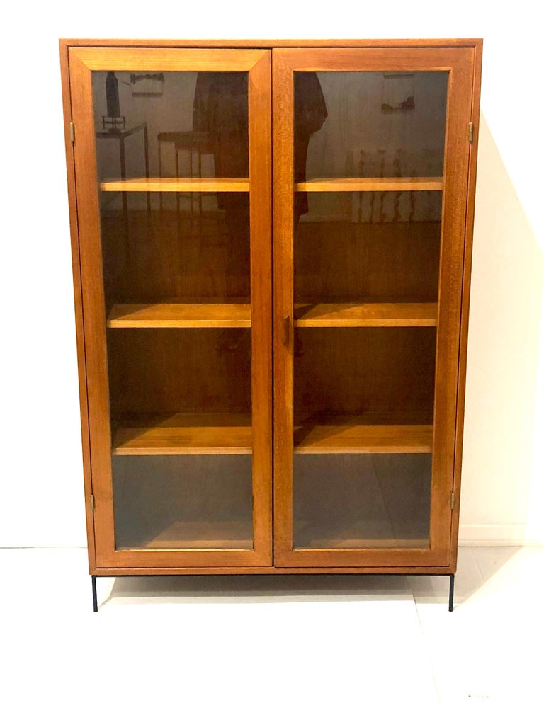 Danish Modern Teak Glass Bookcase by Dyrlund on Solid Iron Base For Sale 2