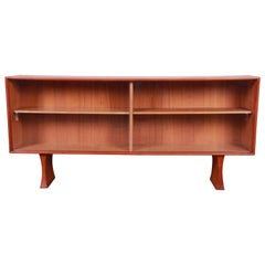 Danish Modern Teak Glass Front Credenza or Bookcase
