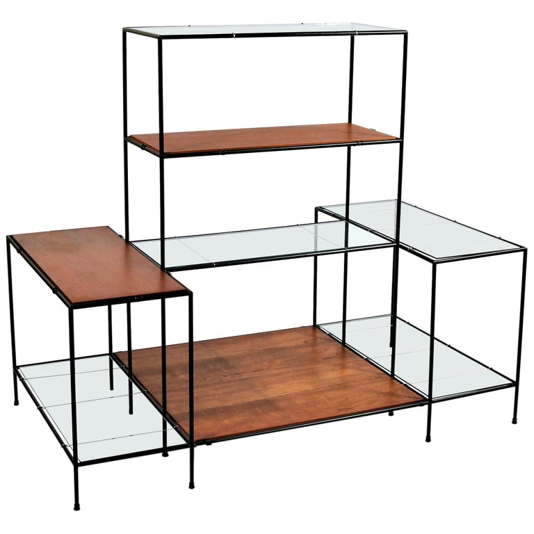 """Danish Modern Teak & Glass Modular Shelving System """"Abstracta"""" by Poul Cadovius For Sale"""