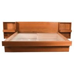 Danish Modern Teak King Platform Bed with Nightstands