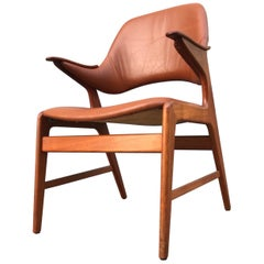 Danish Modern Teak and Leather Armchair by N. A. Jørgensen, 1960s