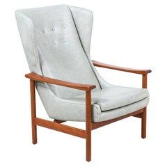 Danish Modern Teak & Leather Wingback Lounge Chair