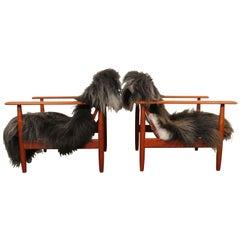 Danish Modern Teak Lounge Chairs, Set of 2