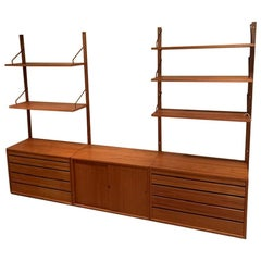 Danish Modern Teak Modular Wall Unit Attributed to Poul Cadovius