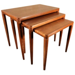 Danish Modern Teak Nesting Table Set in the Manner of Niels Vodder, Denmark