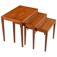 Danish Modern Teak Nesting Tables by Bent Silberg's Mobler