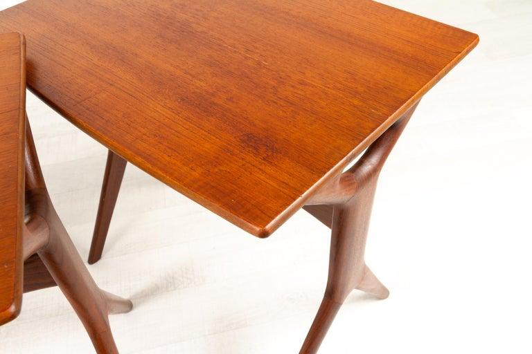 Danish Modern Teak Nesting Tables by Johannes Andersen for CFC, 1960s For Sale 8
