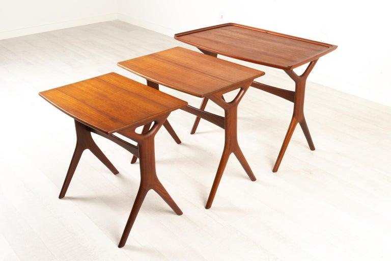 Danish Modern Teak Nesting Tables by Johannes Andersen for CFC, 1960s For Sale 13