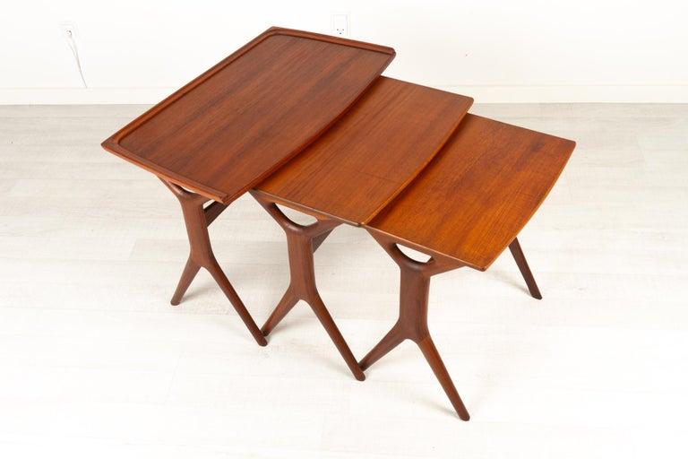 Mid-Century Modern Danish Modern Teak Nesting Tables by Johannes Andersen for CFC, 1960s For Sale