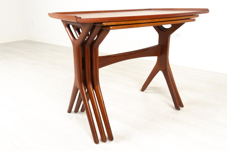 Mid-20th Century Danish Modern Teak Nesting Tables by Johannes Andersen for CFC, 1960s For Sale