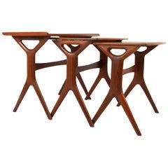 Danish Modern Teak Nesting Tables by Johannes Andersen for CFC, 1960s