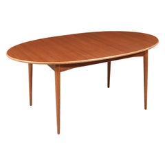 Danish Modern Teak & Oak Butterfly-Leaf Oval Dining Table
